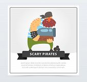 Powerful Muscular Pirate, Bearded Filibuster Holding Cannon In His Hands, Scary Pirates Banner, Flat poster