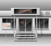 Template For Advertising 3d Store Front Facade. Shop Exterior For Corporate Identity. Blank Mockup O poster