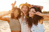 Picture of gorgeous young caucasian and african american women 20s in stylish clothing laughing and  poster