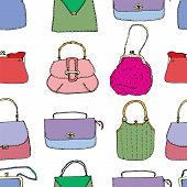 Elegant And Trendy Vintage Bags, Clutches And Purses Seamless Surface Pattern. Hand Drawn Vector Fas poster