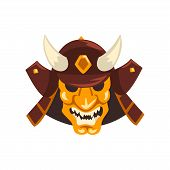 Japanese Samurai Awesome Mask And Helmet Vector Illustration Isolated On A White Background. poster