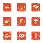 Warm Edge Icons Set. Grunge Set Of 9 Warm Edge Vector Icons For Web Isolated On White Background poster