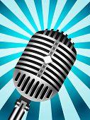 Постер, плакат: Классический микрофон на разлинованной фоне