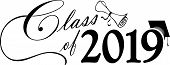 Class Of 2019 Script With Diploma And Graduation Cap poster