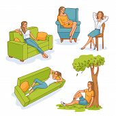 Young Slim Woman Resting Set. Female Characters Lying, Sitting At Sofa, Armchair And Chair, And Unde poster