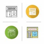 Tattoo Studio Facade Icon. Tattoo Parlour Exterior. Flat Design, Linear And Color Styles. Isolated V poster