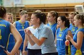 KAPOSVAR, HUNGARY - OCTOBER 2: Kaposvar players listening to trainer at a Hungarian NB I. volleyball