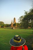 A View Over The Head Of A Mahout Guiding An Elephant To Temple Ruins. The Mahout Is Traditonally Dre poster
