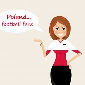 Poland Football Fans.cheerful Soccer Fans, Sports Images.young Woman,pretty Girl Sign.happy Fans Are poster