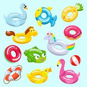 Inflatable Vector Inflated Swimming Ring And Life-ring In Pool For Summer Vacation Illustration Set  poster