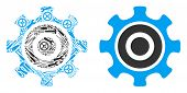 Cogwheel Collage Of Service Tools. Vector Cogwheel Icon Is Done Of Gear Wheels, Hammers And Other Eq poster