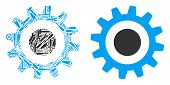 Cogwheel Collage Of Service Tools. Vector Cogwheel Icon Is Constructed Of Gearwheels, Screwdrivers A poster