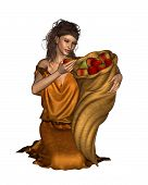 foto of horn plenty  - Pomona the ancient Roman goddess of orchards and fruitful abundance carrying a horn of plenty filled with apples - JPG