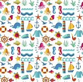 Seamless Patterns With Nautical Elements Wave Paper Ocean Sea Blue Texture Wallpaper Marine Vector I poster