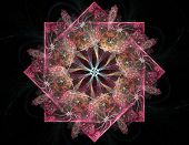 An Abstract Computer Generated Modern Fractal Design On Dark Background. Abstract Fractal Color Text poster