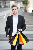 Shop Alone. People Find Shopping Partners More Akin Accomplices In Crime. Man Carry Shopping Bag. Gu poster