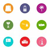 East End Icons Set. Flat Set Of 9 East End Vector Icons For Web Isolated On White Background poster