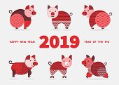 Pig Is A Symbol Of The 2019 Chinese New Year. Greeting Card In Oriental Style With Pigs, Geometric E poster