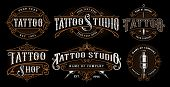 Set Of Vintage Tattoo Emblems, Logos, Badges, Shirt Graphics. Tattoo Lettering Illustration. All Ele poster