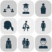 Human Icons Set With Smart Man, Student, Social Relations And Other Human Elements. Isolated  Illust poster