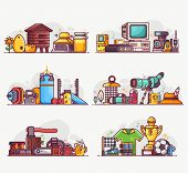 People Interests And Occupation Equipment Icons. Hobbies, Professions And Lifestyles Concepts. Birdw poster