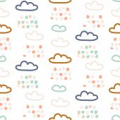 Rainy Clouds Pastel Colors Seamless Vector Pattern. Cute Childish Style Sky Background Texture For P poster