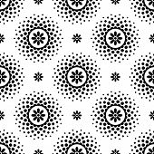 Seamless Pattern With Black Flowers And Halftone Circle Frame On White Background. Halftoned Dots Wi poster