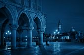 Historical buildings at Piazza San Marco and San Giorgio Maggiore church at night in Venice and , It poster