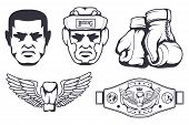 Set Of Different Elements For Box Design - Boxing Gloves, Boxer Man, Boxing Helmet, Boxing Belt. Spo poster