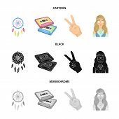 Amulet, Hippie Girl, Freedom Sign, Old Cassette.hippy Set Collection Icons In Cartoon, Black, Monoch poster