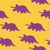Dinosaur Triceratops Silhouette Pattern Seamless. Vector Illustration. Purple Dinosaurs On Orange Ba poster