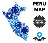 Industrial Peru Map Mosaic Of Gears. Abstract Geographic Plan In Blue Color Tints. Vector Peru Map I poster