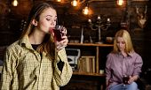 Friends Enjoy Mulled Wine In Warm Atmosphere, Wooden Interior. Girls Relaxing And Drinking Mulled Wi poster
