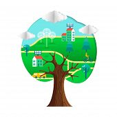 Tree With Green City Paper Cutout. Environment Care Concept For Nature Help. Sustainable Community I poster