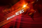 Graphical Breaking News Background With News Text, Red Theme Background With White Breaking News. poster