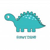Cartoon Amusing Dinosaur On White, Card With Cute Dinosaur For Any Design poster
