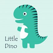 Cartoon Amusing Dinosaur, Fashion For Baby, Cute Dinosaur Card For Any Design poster