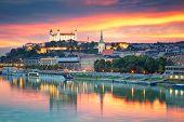 Bratislava. Cityscape Image Of Bratislava, Capital City Of Slovakia During Sunset. poster