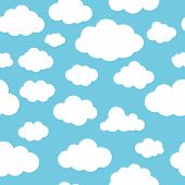 Clouds Blue Pattern. Nubes On Sky, Cartoon Skyline Clouds Seamless Background For Baby And Child Bri poster