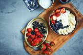 Bowl Of Cottage Cheese With Berries, Bananas And Sour Cream, Fresh Berries And Cottage For Breakfast poster