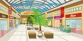 Shopping Mall Corridor With Panoramic Roof. Modern Boutiques In Mall With Plants And Benches. Shoppi poster