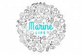 Marine Ocean Creatures Cartoon Doodle Cute Set. Vector Nautical Sea Life. Underwater Inhabitatnts An poster