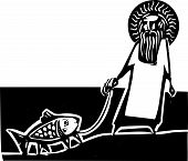 stock photo of darwin  - God taking a walk with a Darwin legged fish - JPG