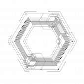 Engineering Drawing Of Future Technologies .techno Linear Geometric Design.computer Aided Design Sys poster