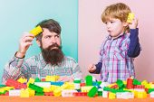 Child Care Development And Upbringing. Father Son Game. Father And Son Create Constructions. Bearded poster