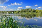 The Photo Was Taken In Ukraine On A River Called The Southern Bug. In The Picture, The Banks Of A Qu poster