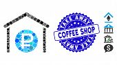 Mosaic Rouble Storage Icon And Grunge Stamp Seal With Take Away Coffee Shop Phrase. Mosaic Vector Is poster