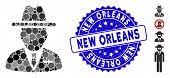 Mosaic Spy Person Icon And Grunge Stamp Watermark With New Orleans Text. Mosaic Vector Is Formed Wit poster