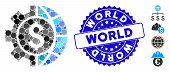 Mosaic World Industry Finances Icon And Distressed Stamp Watermark With World Text. Mosaic Vector Is poster