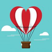 Happy Valentine's Day Concept Decorative With Air Balloon Flat Design poster